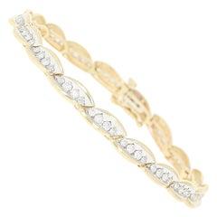 Diamond Link Bracelet, 14 Karat Yellow Gold Round Brilliant 2.00 Carat