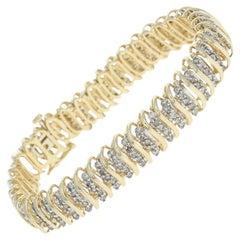 Diamond Link Bracelet, 14 Karat Yellow Gold Round Cut 5.00 Carat