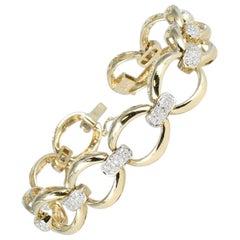 Diamond Link Bracelet in 14 Karat Yellow Gold