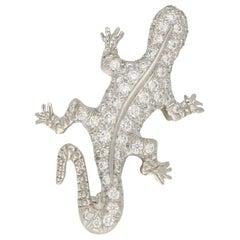 Diamond Lizard Brooch in Platinum, 1990s