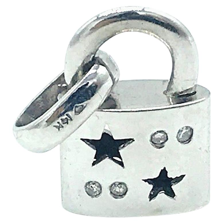 Diamond Lock Charm with Stars, 14 Karat White Gold Pendant