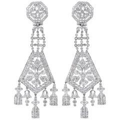Diamond Long Chandelier Earrings
