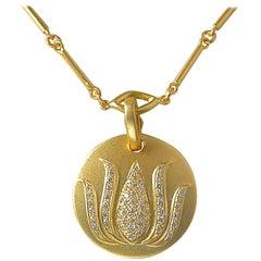 Diamond Lotus Flower Pendant