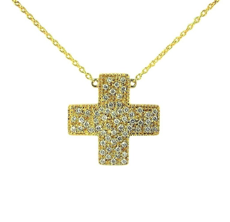 Contemporary DIAMONDS IN LOVE  on Yellow Gold Cross Pendant Necklace   For Sale