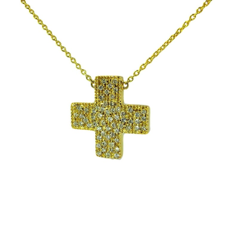 DIAMONDS IN LOVE  on Yellow Gold Cross Pendant Necklace   For Sale 2