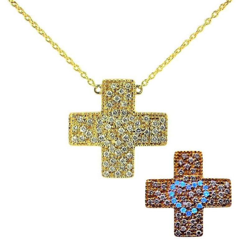DIAMONDS IN LOVE  on Yellow Gold Cross Pendant Necklace   For Sale