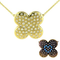 Performance Art :  DIAMONDS IN LOVE  on Yellow Gold FLOWER Pendant Necklace
