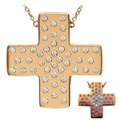 Diamond Love Gold Cross Pendant with Magic Diamond Message of Love