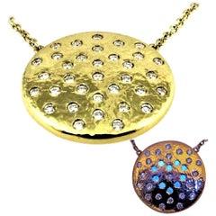 DIAMOND LOVE  on Planet 34 Natural Diamond Yellow Gold Pendant Necklace