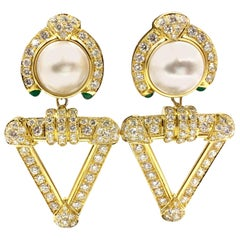 Diamond, Mabe Pearl and Emerald 18 Karat Convertible Earrings