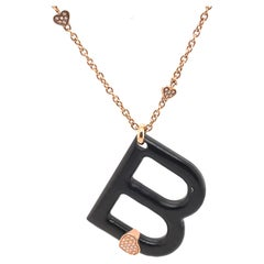 Diamond & Mahogany B Pendant Necklace 18k Rose Gold