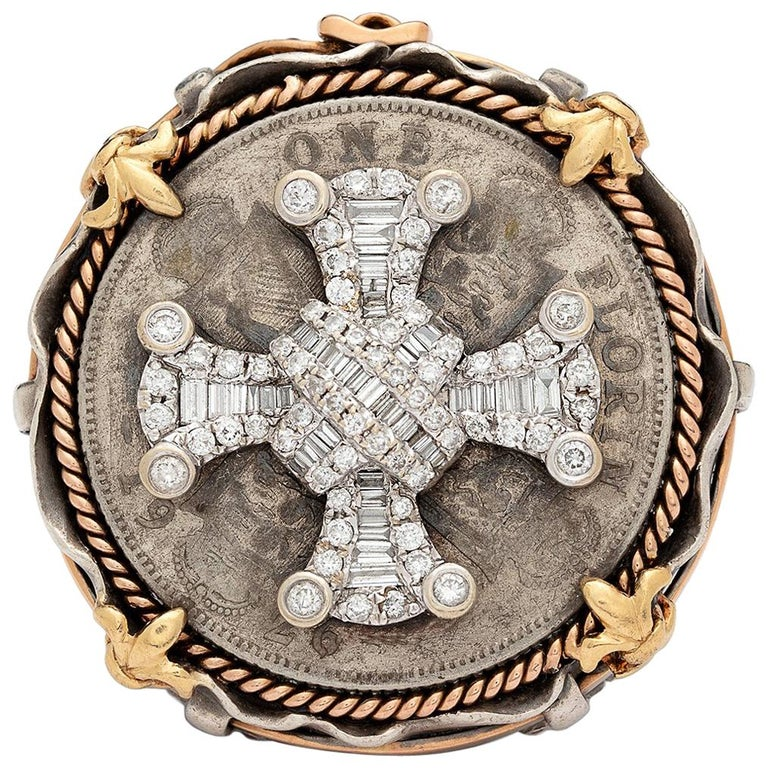 Diamond Maltese cross Jeans ring, 2000s, offered by 66 mint