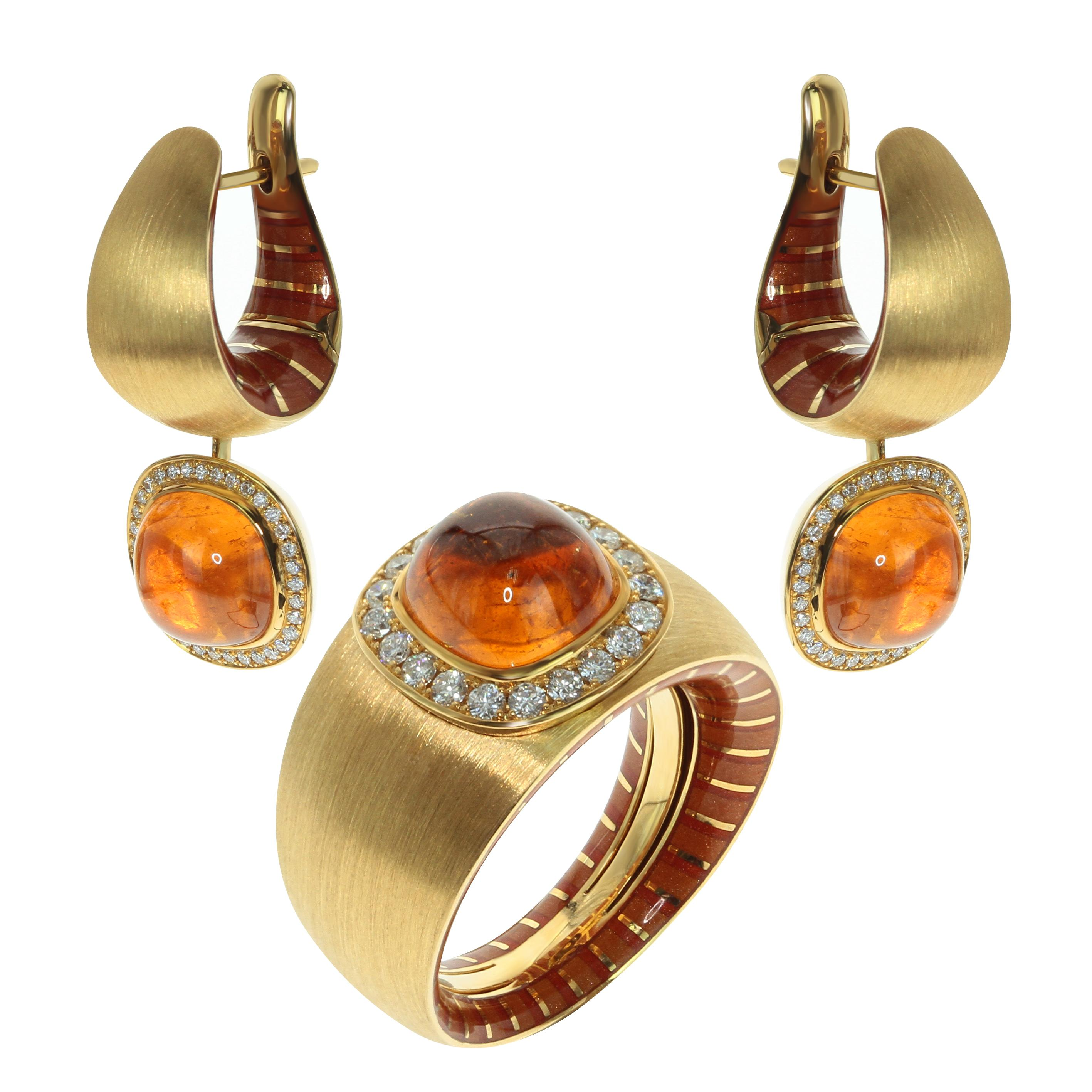 Diamond Mandarin Garnet 18 Karat Yellow Gold Kaleidoscope Enamel Suite