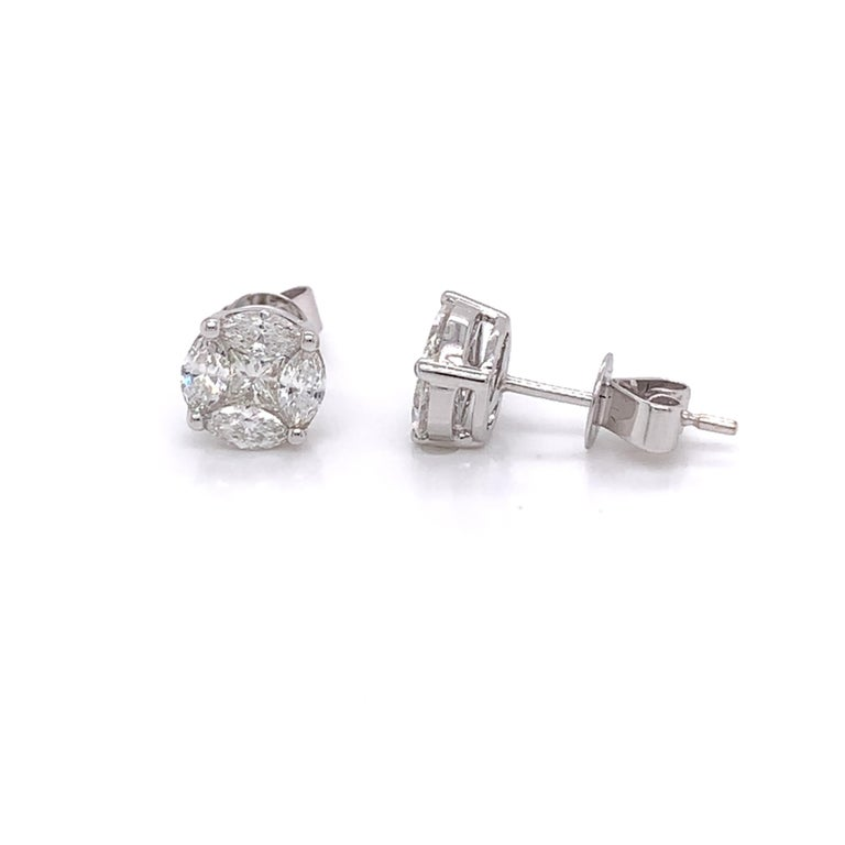 Diamond Studs made with real/natural marquis/princess cut diamonds. Total Diamond Weight: 0.84 carats. Diamond Quantity: 10 diamonds (8 marquis cut diamonds + 2 princess cut diamonds). Color: G-H. Clarity. VS-SI. Mounted on 18kt white gold pushback