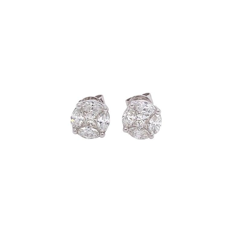 Marquis Diamond Stud Earrings For Sale