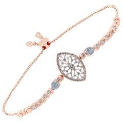 Diamond Marquise 18 Karat Gold Snowflakes Bracelet