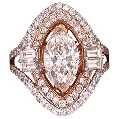 Diamond Marquise and Baguettes Split Shank Engagement Ring
