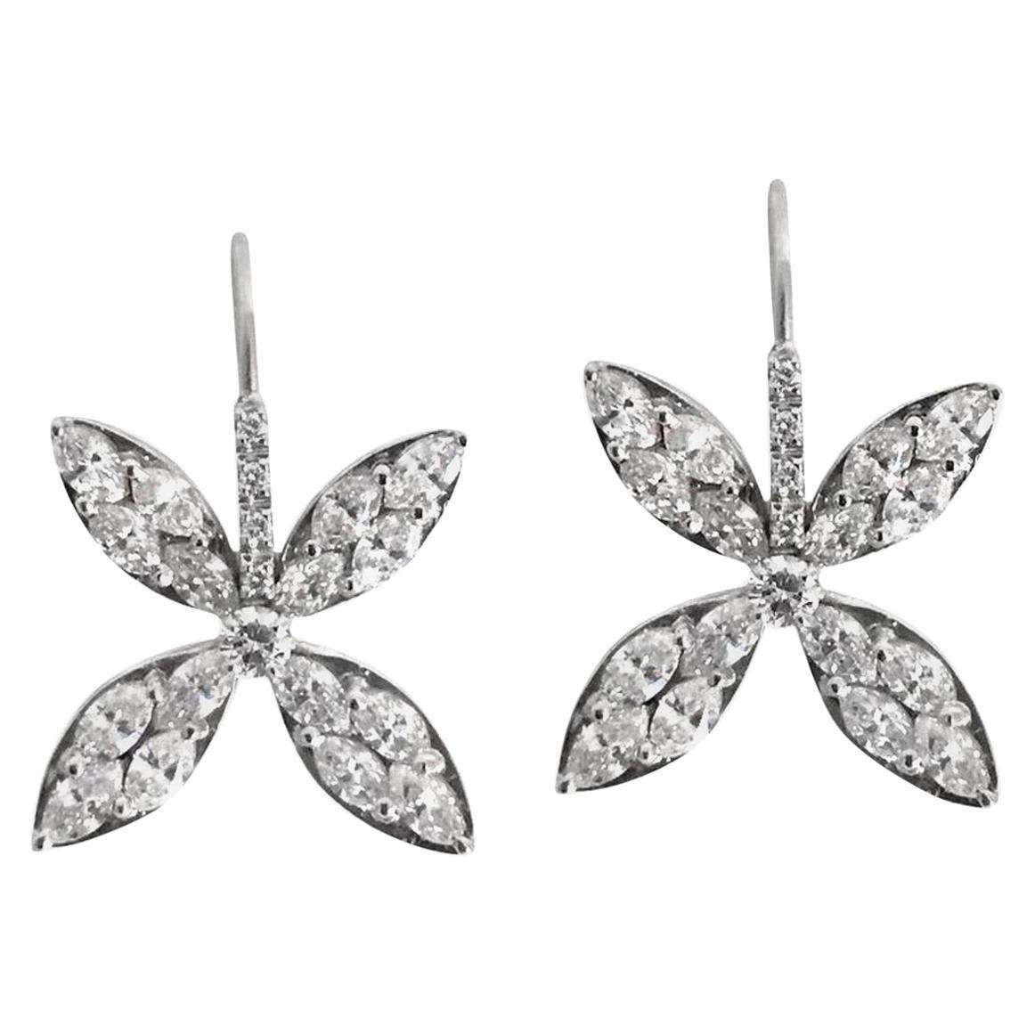 18k white gold Diamond  Marquise Petal Drop Earrings