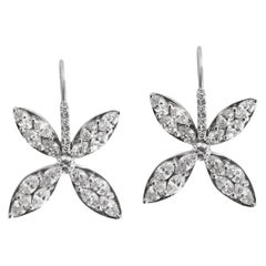 18k white gold Diamond  Marquise Petal Drop Earrings