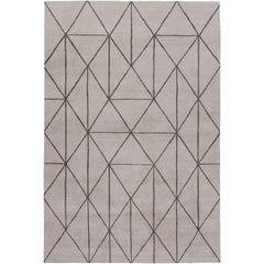 Diamond Maze Grey Hand-Knotted 10x8 Rug in Wool by The Rug Company