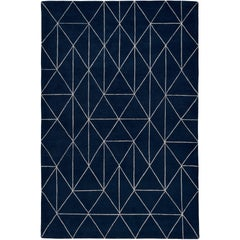 Diamond Maze Navy Hand-Knotted 10x8 Rug in Wool by The Rug Company