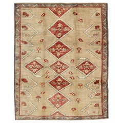Diamond Medallion Vintage Turkish Oushak Rug in Red, Brown and Cream