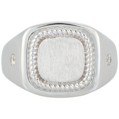 Diamond Men's Gents Unisex Dome Fashion Twisted Rope Band Ring 14k White Gold