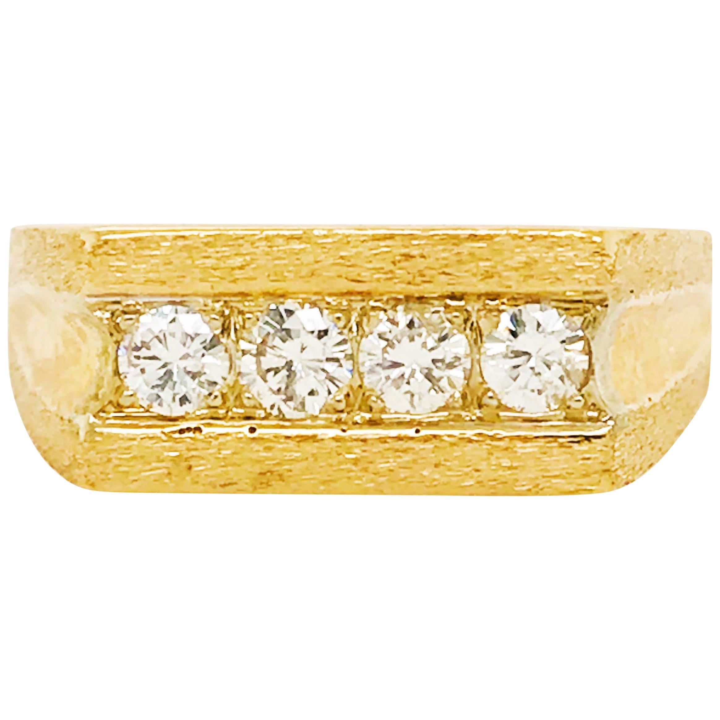 Diamond Men's Wedding Band, Custom Brushed Finish, 14K Yellow Gold, 3/4 Carat