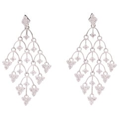 Diamond Mesh Drop Earrings 2.17 Carats 18 Karat White Gold