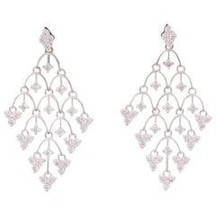 Diamond Mesh Drop Earrings 2.17 Carats 18 Karat White Gold