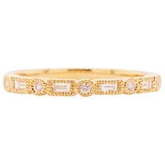 Diamond Millgrain Ring 14 Karat Gold Modern Baguette Diamond Band Sizable