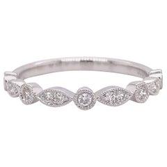 Diamond Millgrain Ring Band, White Gold Round Marquise 1/5 Carat Diamond