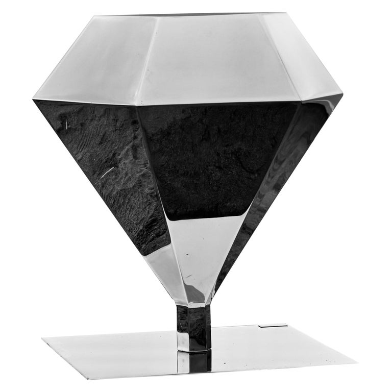 """Diamond """"Mirror"""" Solitaire Coffee Table, Handmade, Customizable, Side Table For Sale"""