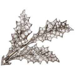 Diamond Mistletoe Leaf Brooch, France, circa 1880s