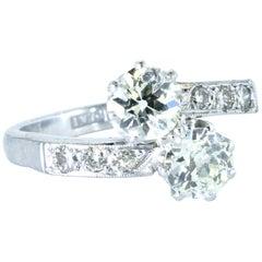 Diamond Moi et Toi Platinum Ring, circa 1930