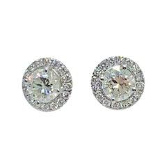 Diamond Moissanite Earrings 14k Gold Stud 1.40 CTW Certified