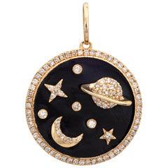 Diamond Moon Star Saturn Pendant Estate 14 Karat Gold Round Celestial Jewelry