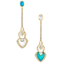 Diamond, Moonstone, and Opal Mismatched Statement Earrings