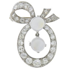Diamond Moonstone Gold Bow Brooch Pin