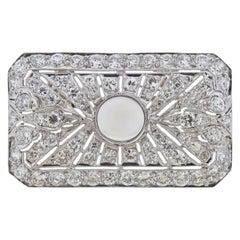 Diamond Moonstone Rectangular Brooch Pendant