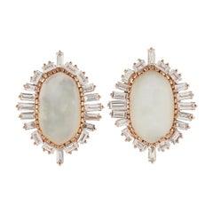 Diamond Mother of Pearl 18 Karat Gold Snow White Stud Earrings