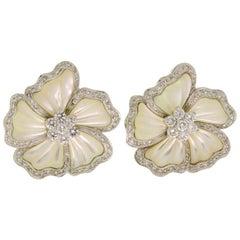Diamond Mother of Pearl White Gold Flower Earrings