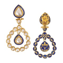 Diamond Mughal Earring with Blue Enamel Handcrafted in 18K Gold