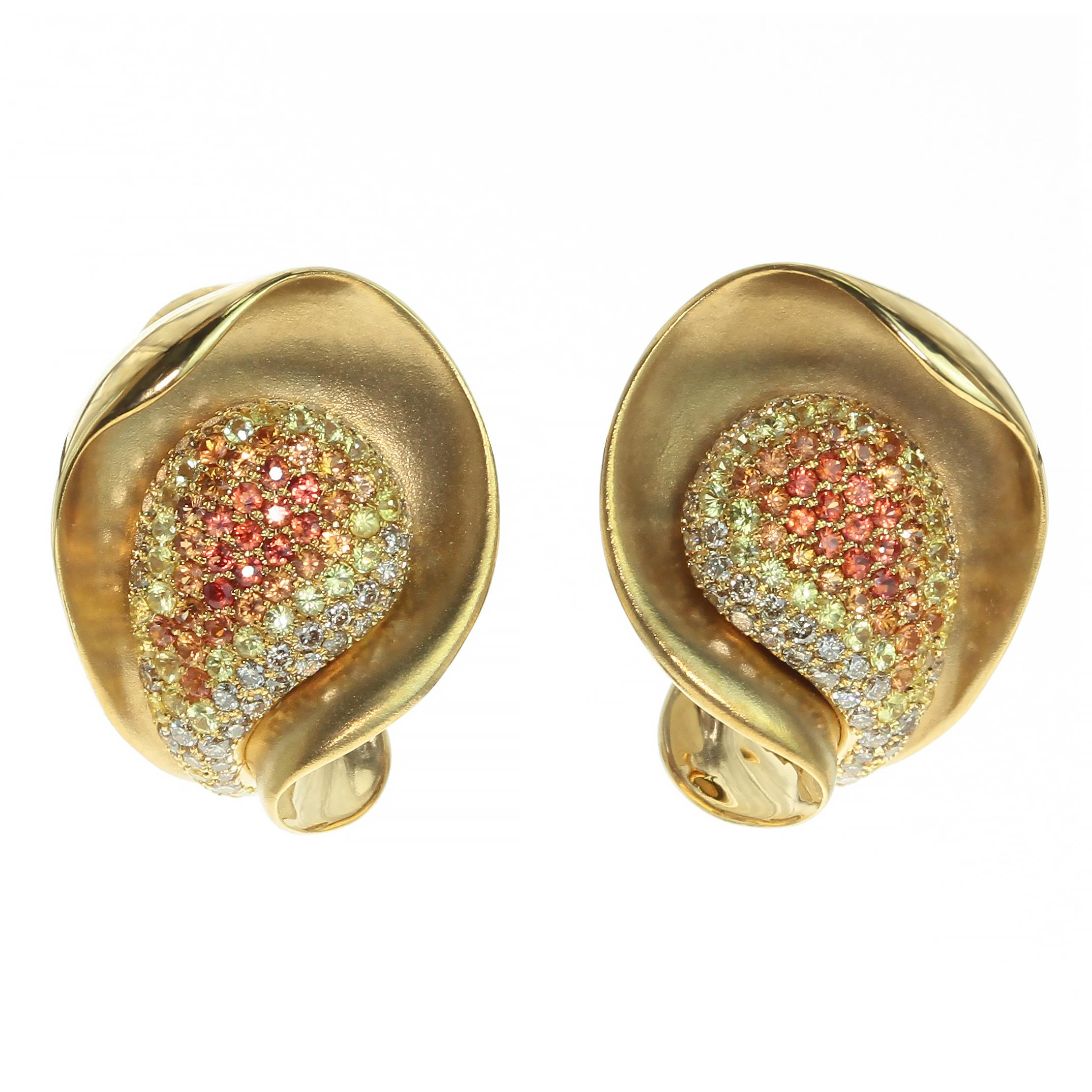 Diamond Multi-Color Sapphire 18 Karat Yellow Gold Earring