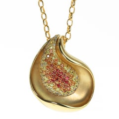 Diamond Multi-Color Sapphire 18 Karat Yellow Gold Pendant