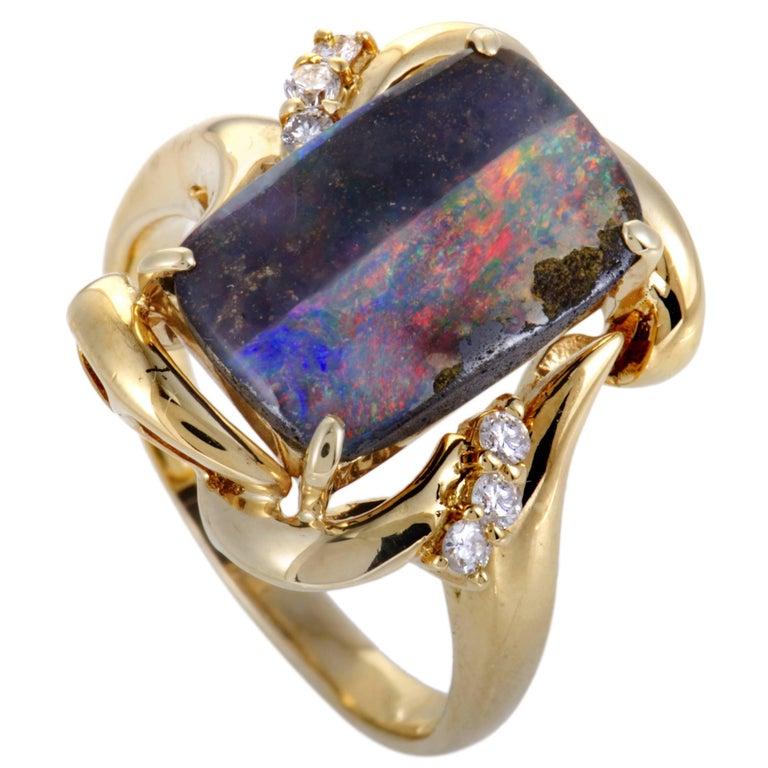 Diamond Multicolored Opal Gold Ring