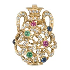 Diamond & Multi-Gemstone Yellow Gold Vase Pendant
