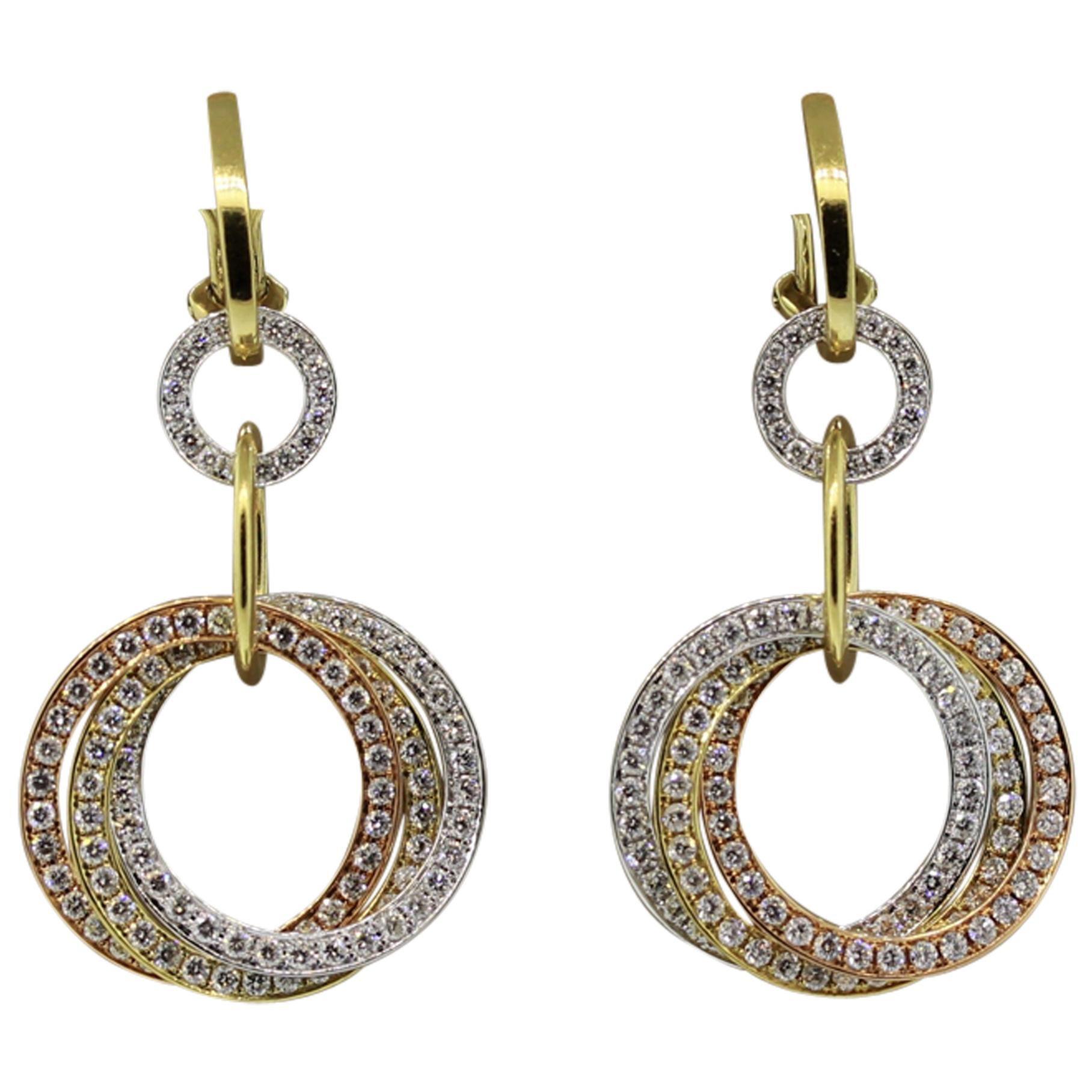 Diamond Multi-Hoop Gold Dangle Earrings