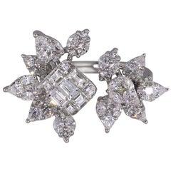 Diamond Multi Shape Open Flower Ring