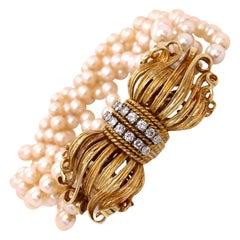 Diamond Multi Strand 18 Karat Yellow Gold Vintage Bracelet